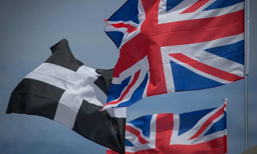 The Cornish flag appears alongside union flags