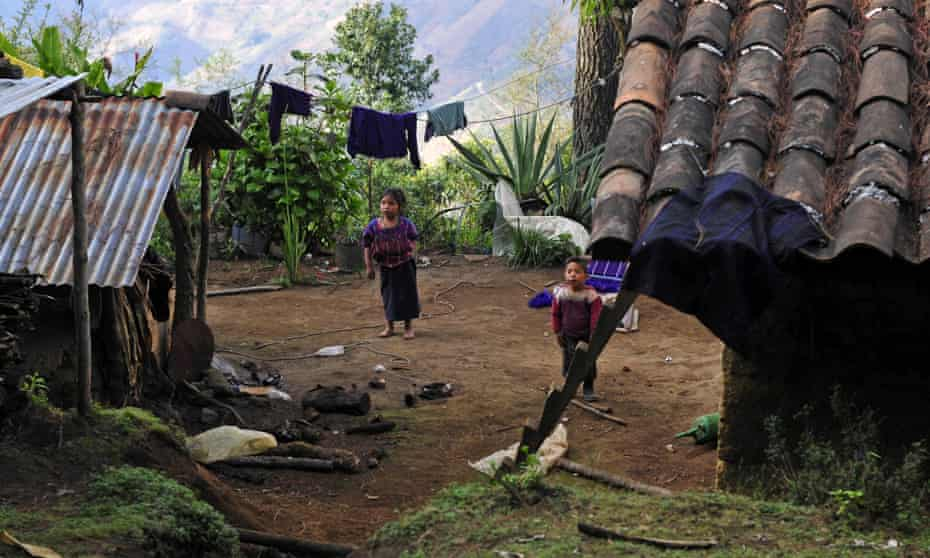 Children are seen at the courtyard of their housing at the municipality of San Juan de Atitan, one of the poorest places in the World, located at the department of Huehutenango, Guatemala.