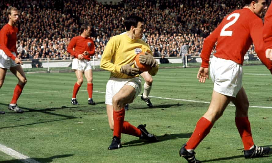 Gordon Banks in action for England during the 1966 World Cup final at Wembley