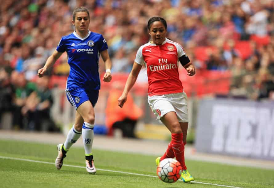 Alex Scott in action for Arsenal against Chelsea at the Women's FA Cup final at Wembley in 2016.