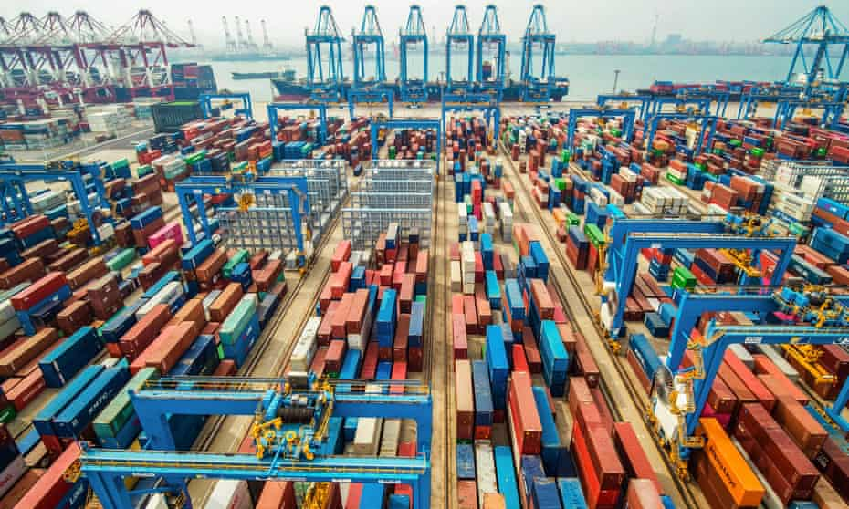 Containers stacked at a port in Qingdao, eastern China