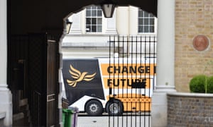 The Lib Dem battlebus in Richmond, London, where Tim Farron and Vince Cable were visiting the HQ of Graze, the food company.