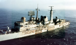 The damage to HMS Sheffield after it was struck by an Exocet missile in May 1982