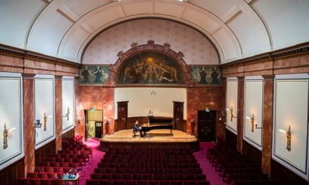 Stephen Hough at the piano in an empty Wigmore Hall.
