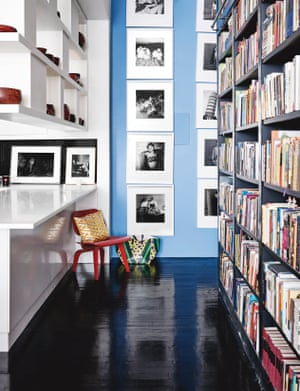 Hanya Yanagihara's huge bookshelf separates public from private quarters in her Manhattan apartment.