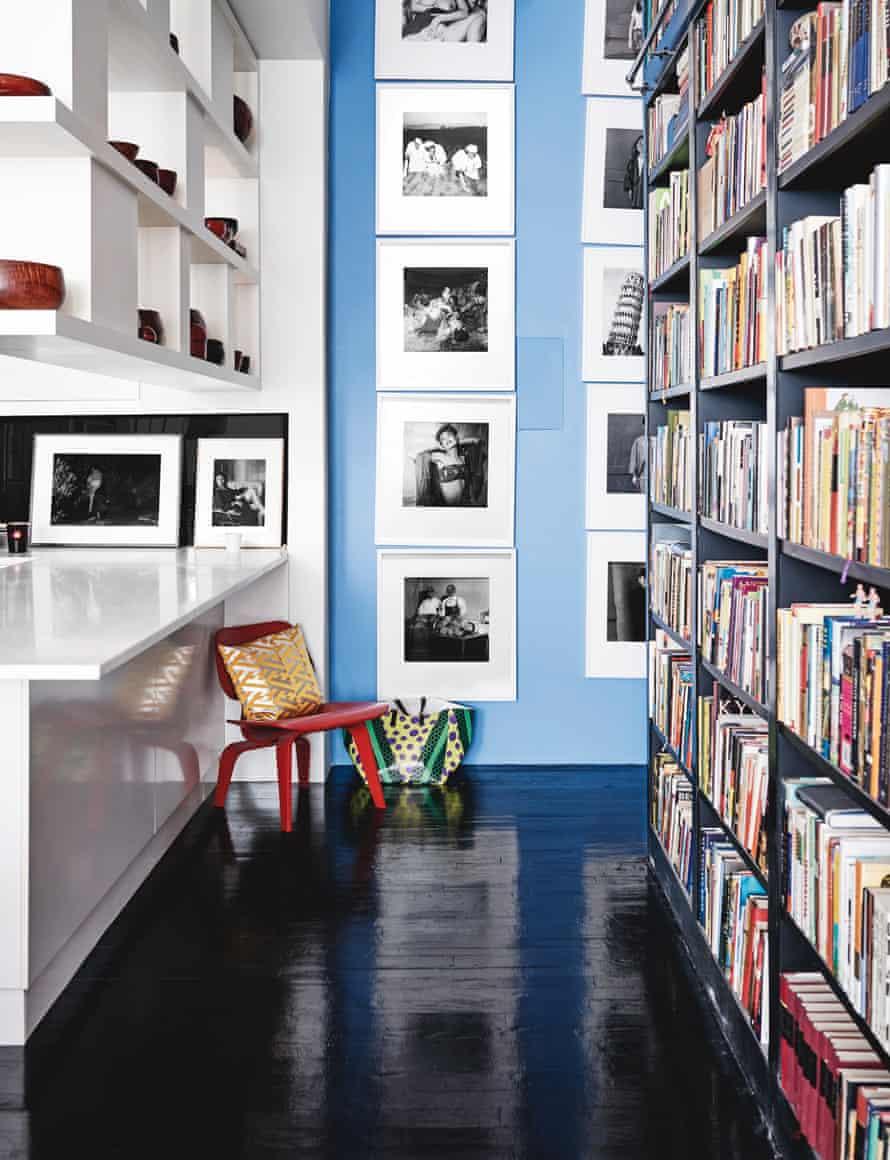 Hanya Yanagihara's huge bookshelf separates public from private quarters in her Manhattan apartment.