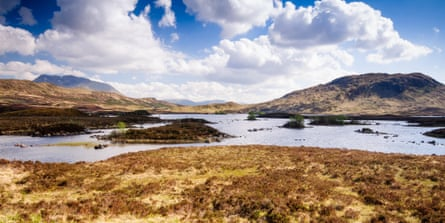 The lakes of Lochan na h-Achlaise on the vast peat bogs of Rannoch Moor in the remote West Highlands of Scotland.