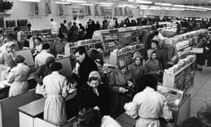 Checkouts at a recently opened supermarket in Maidenhead, 1955.