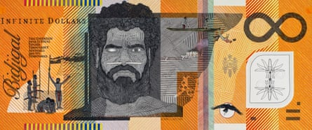 A Blood Money Infinite Dollar Note by Ryan Presley featuring Bembulwoyan, commonly known as Pemulwuy.