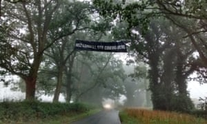 An anti-HS2 banner in Potter Row, near South Heath, Buckinghamshire, close to the proposed route.