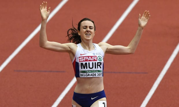 Britain's Laura Muir wins the women's 1500m at the European Indoors