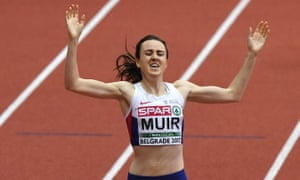 Laura Muir wins the women's 1500m final at the 2017 European Indoor Championships in Belgrade, where she also finished first in the 3,000m.