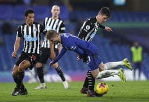 Chelsea's Timo Werner is tackled by Newcastle's Ciaran Clark.