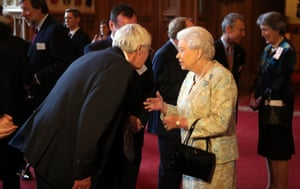 The Queen meets Barry Norman at a reception for the British film industry at Windsor Castle in 2013