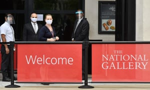 Gallery staff wearing protective face shields and face coverings at the National Gallery in early July 2020.