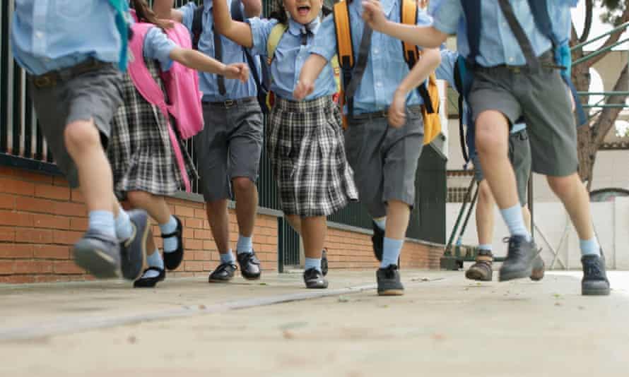 Primary schoolchildren in Barcelona, Spain.