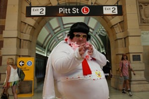 Elvis impersonator Sean Wright of Bowral poses at central station.