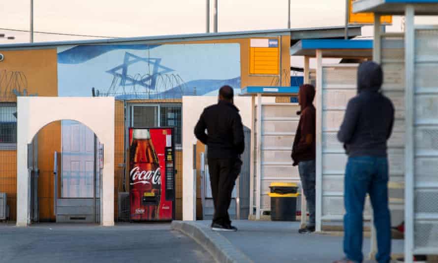 Eritrean asylum seekers outside Holot detention facility, near Nitzana in Israel.