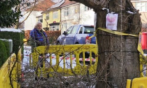 A resident stands by a ringfenced tree in Sheffield