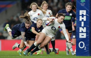 England's Kelly Smith goes over for one of England's 12 tries.