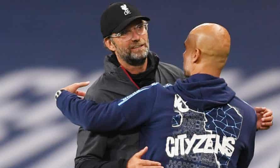Jürgen Klopp will face Pep Guardiola again when Liverpool meet Manchester City on Sunday.