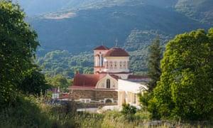 Village church, Elos, Crete, in verdant countryside