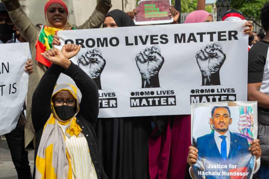 London's Oromo community hold a protest