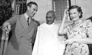 Lord and Lady Mountbatten and Mahatma Gandhi