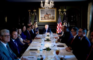 President Donald Trump waits for a meeting on prison reform at the Trump National Golf Club in Bedminster, US