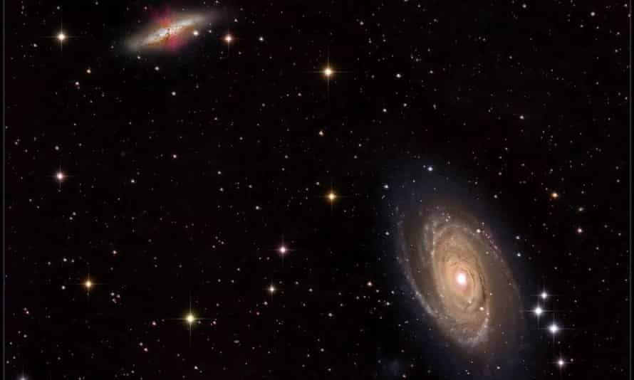 "This image shows M81 (bottom right) and M82 (upper left), a pair of nearby galaxies where ""intergalactic transfer"" may be happening. Gas ejected by supernova explosions in M82 can travel through space and eventually contribute to the growth of M81."