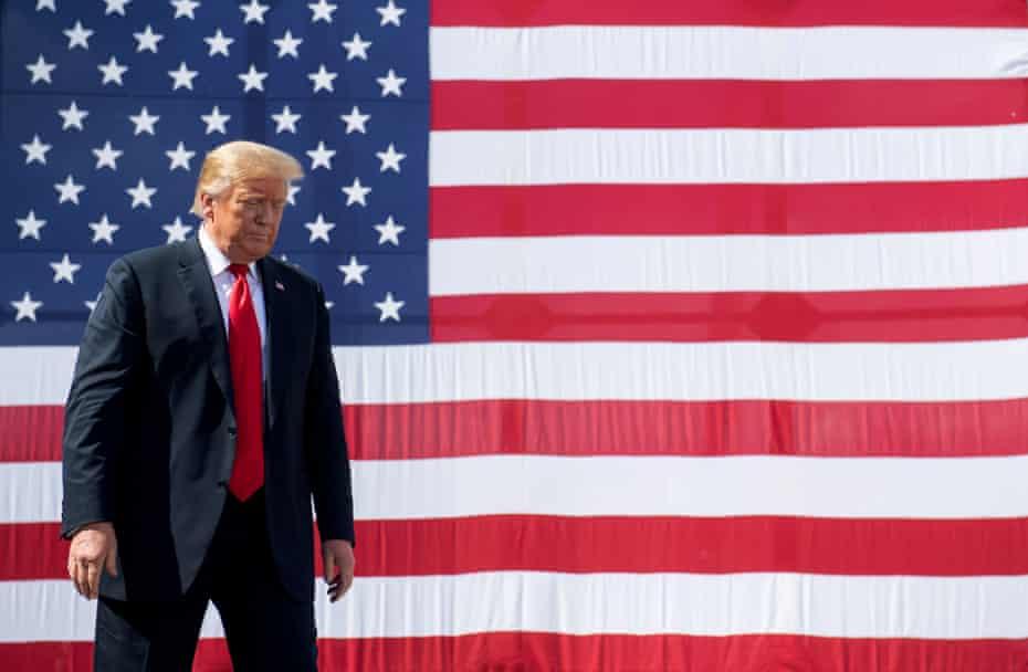 Donald Trump following a tour of Fincantieri Marinette Marine in Marinette, Wisconsin, on 29 June.