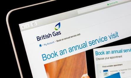 British Gas boiler service website shown on a computer