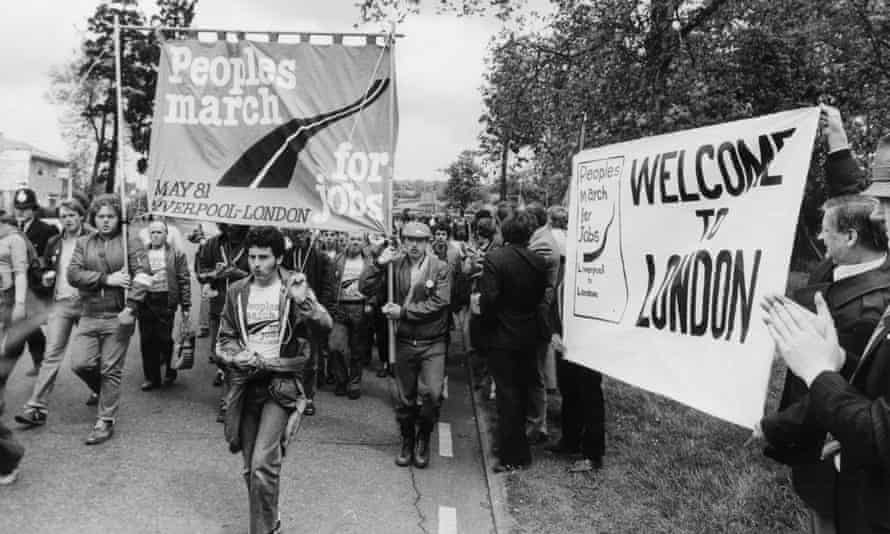The People's March for Jobs reaches London in May 1981 after 28 days walk from Liverpool.