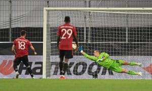 Bruno Fernandes (No 18) scores a penalty during extra time for Man Utd v Copenhagen