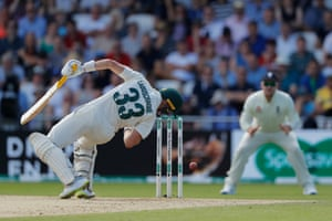 Marnus Labuschagne of Australia is struck by a delivery from Jofra Archer.
