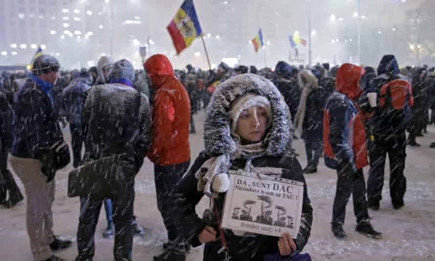 Anti-government protesters in Bucharest, Romania.