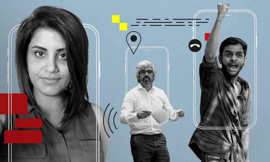 From Left: Saudi women's rights activist Loujain al-Hathloul. Joseph Breham, lawyer of ACTED. The Indian student activist Umar Khalid, who was targeted with Pegasus in late 2018, shortly before sedition charges were filed against him