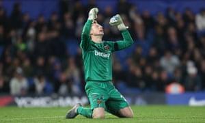 David Martin falls to his knees at the final whistle after West Ham won at Stamford Bridge.
