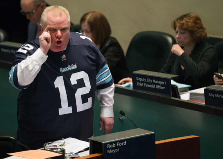 Swing to the right … Toronto mayor Rob Ford defends himself from allegations in 2013.