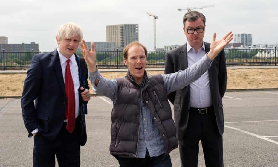 Boris Johnson (Richard Goulding), Dominic Cummings (Benedict Cumberbatch) and Michael Gove (Oliver Maltman) in Brexit: The Uncivil War.