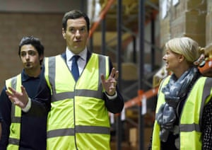 Chancellor George Osborne tours manufacturing firm Luna Logistics in Harlow