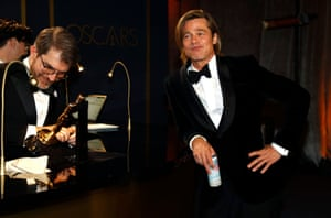 Brad Pitt also waits for his Oscar to be engraved at the Governors Ball