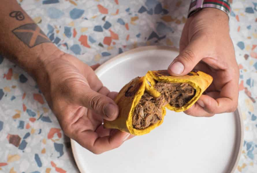 James Cochran's take on a mix between a Jamaican patty and Cornish pasty, with spicy curried goat, breadfruit, swede, carrot and onion pasties.