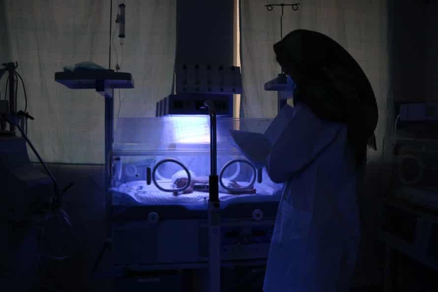 A newborn baby on a maternity ward in Herat in February