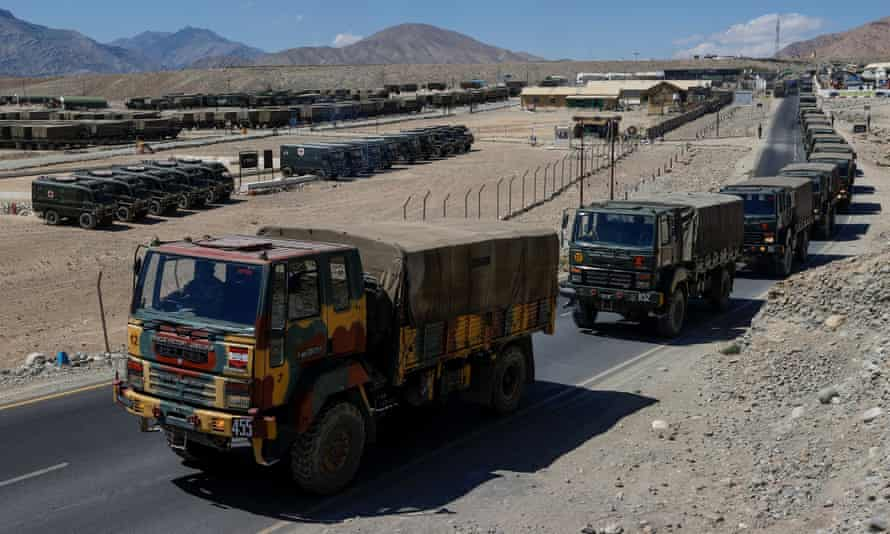 Military trucks carrying supplies move towards forward areas in the Ladakh region on 15 September.