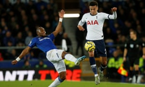 Everton's Djibril Sidibe challenges Dele Alli. The Tottenham midfielder showed signs of a return to form