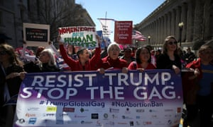 Demonstrators mark International Women's Day 2018 with a protest against the global gag rule outside the White House