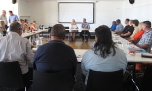 Nationals MP Jacqui Boydell and WA's regional development minister, Terry Redman, address the land council meeting in Broome