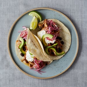 Claire Thomson's chicken tinga and black bean tacos