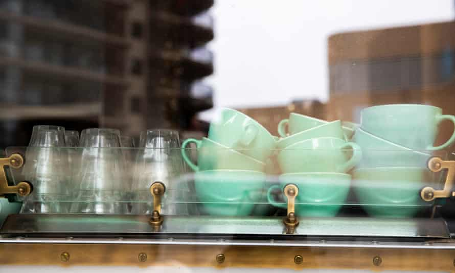 cups and glasses on an espresso machine
